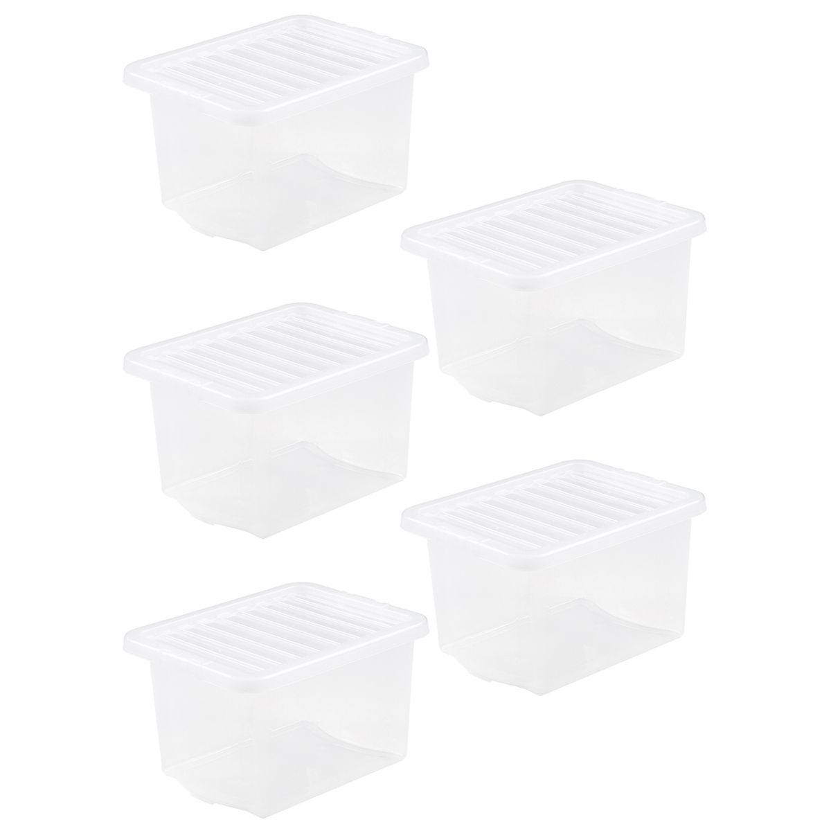 Wham Crystal Clear Storage Box with Lid 24L - Set of 5