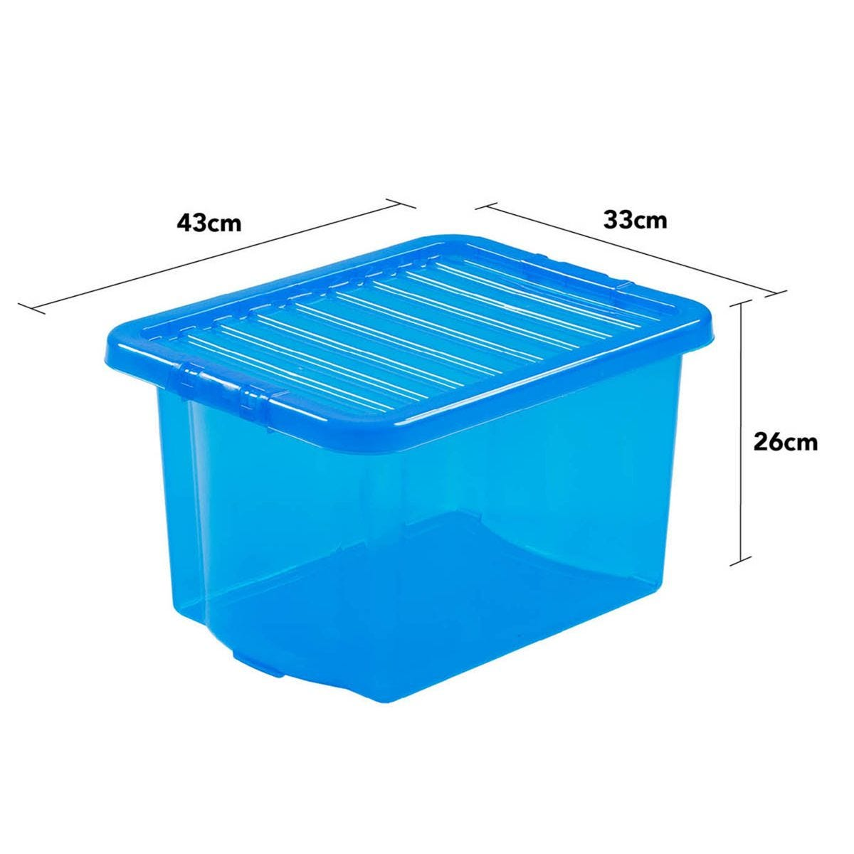 Wham Crystal Blue Storage Box with Lid 24L - Set of 5