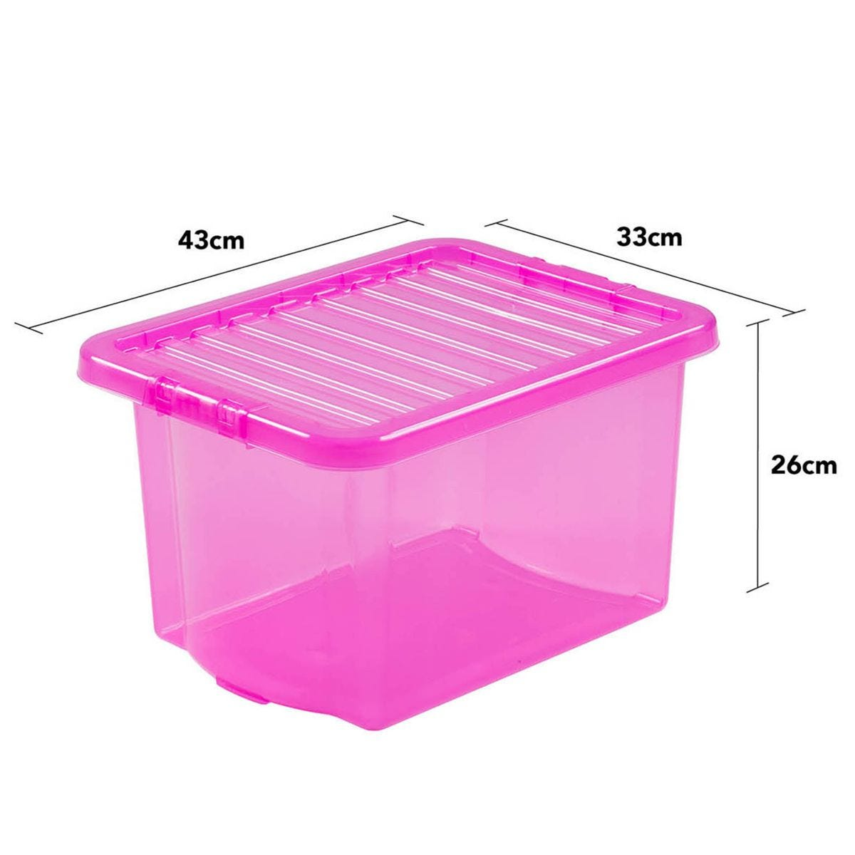 Wham Crystal Pink Storage Box with Lid 24L - Set of 5