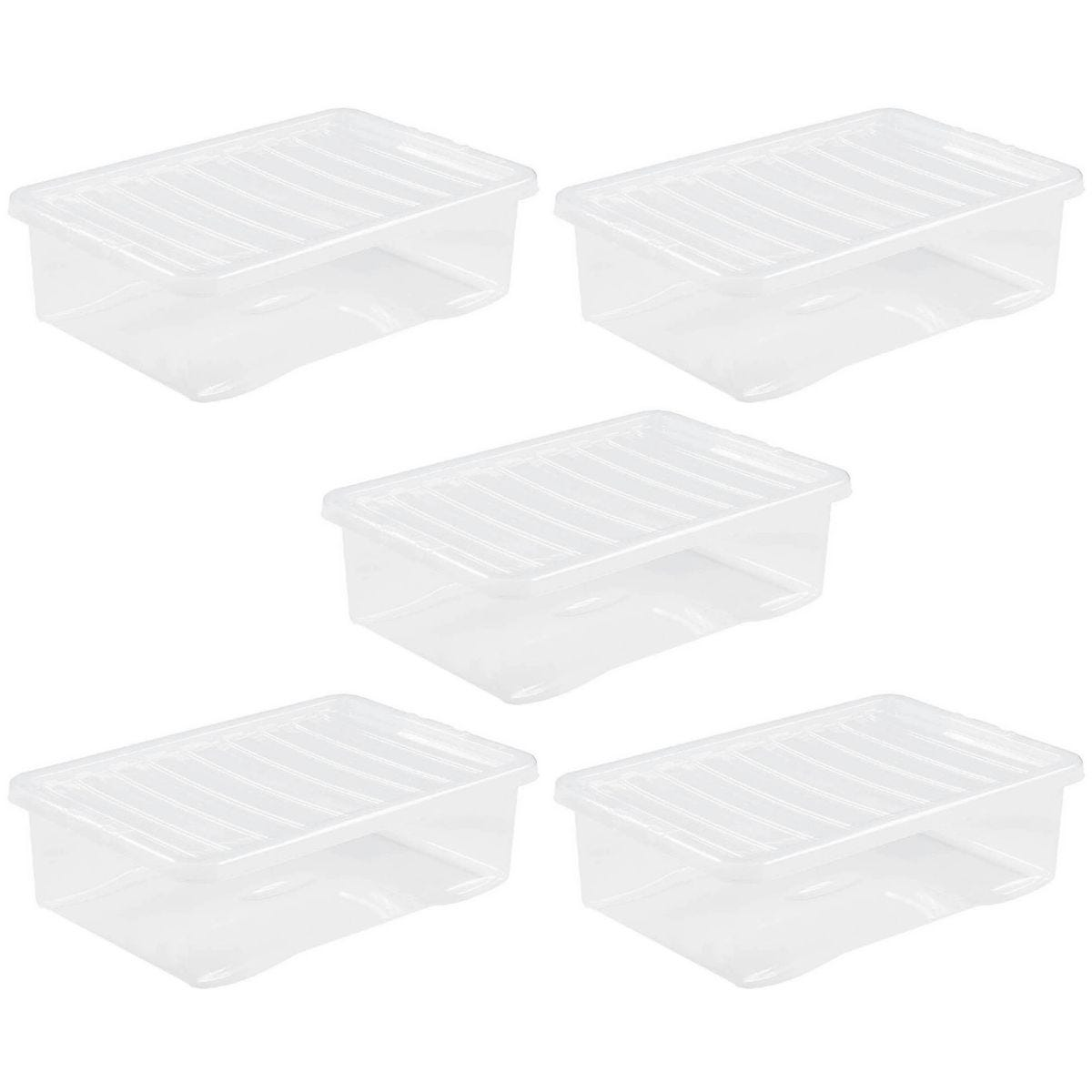 Wham Crystal Clear Under Bed Storage Box with Lid 32L - Set of 5