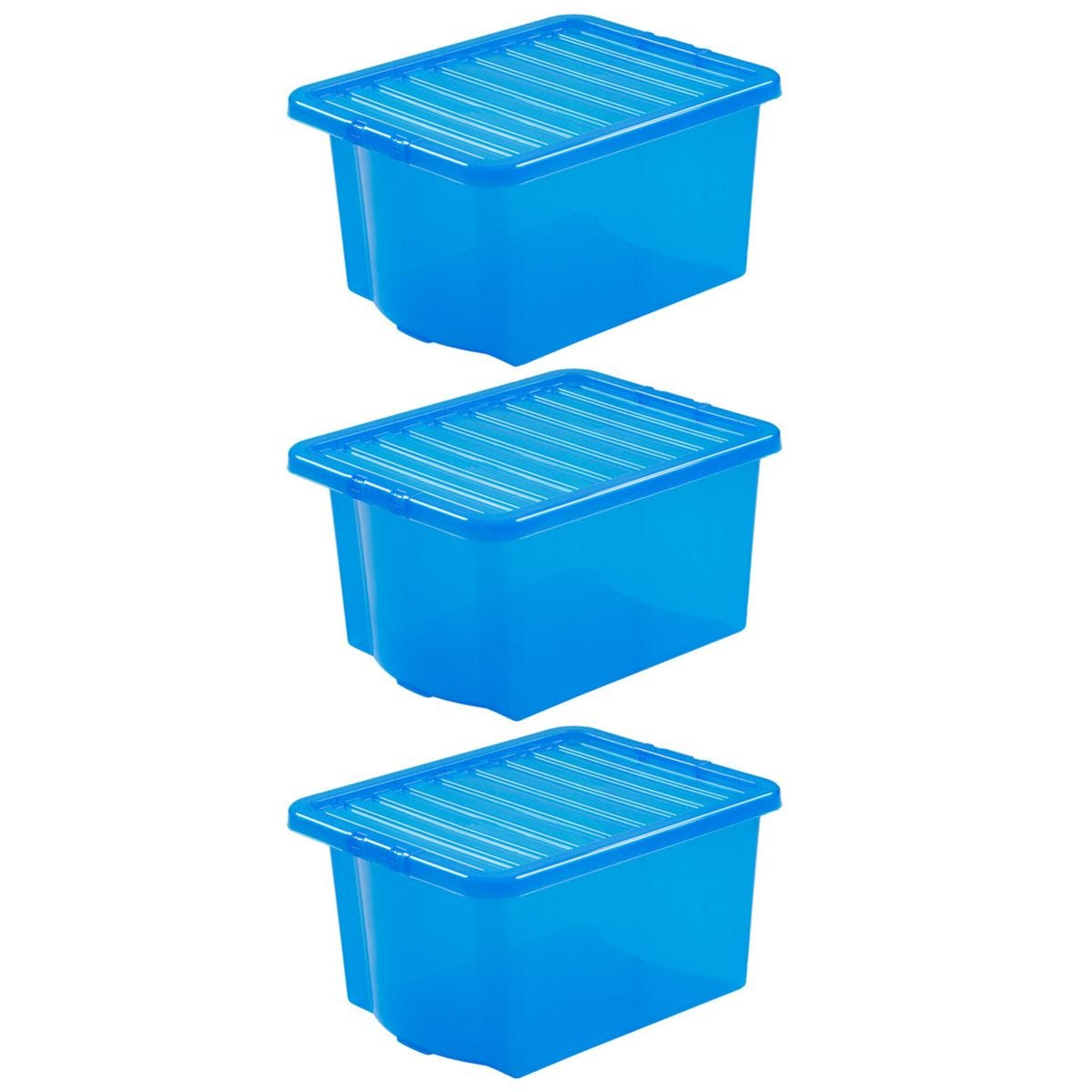Wham Crystal Blue Storage Box with Lid 35L - Set of 3