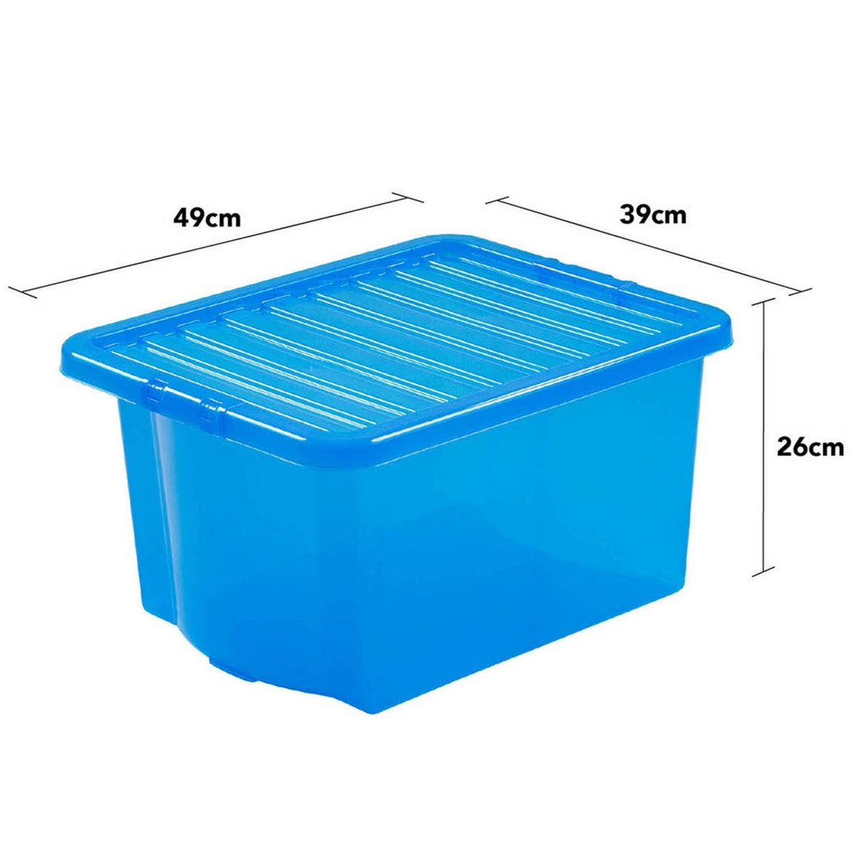 Wham Crystal Blue Storage Box with Lid 35L - Set of 5