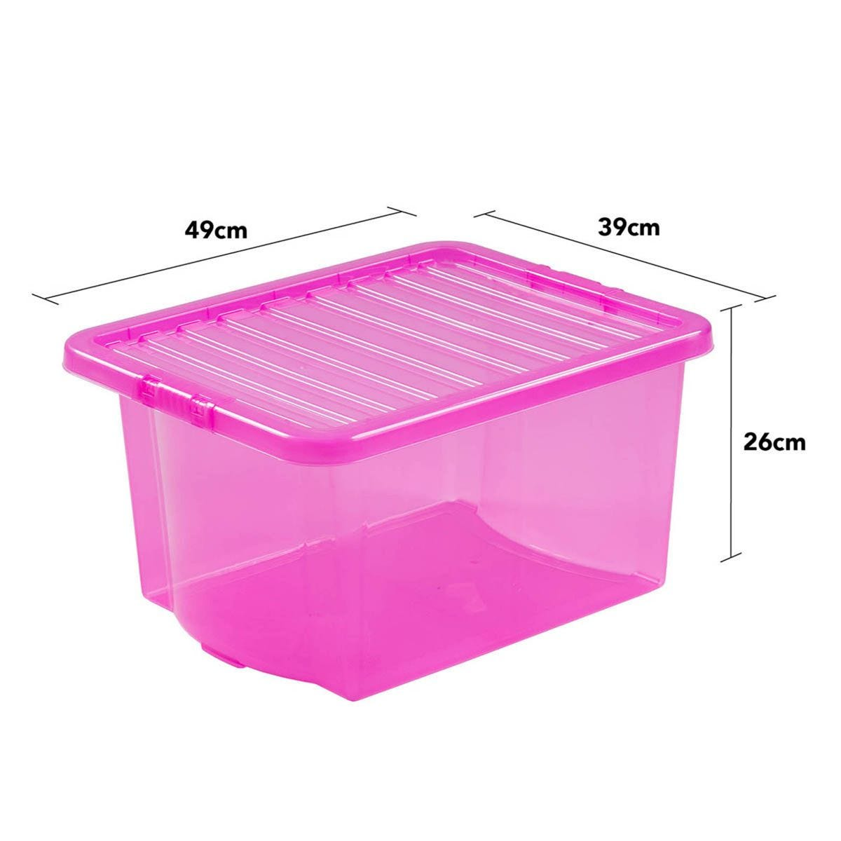 Wham Crystal Pink Storage Box with Lid 35L - Set of 5