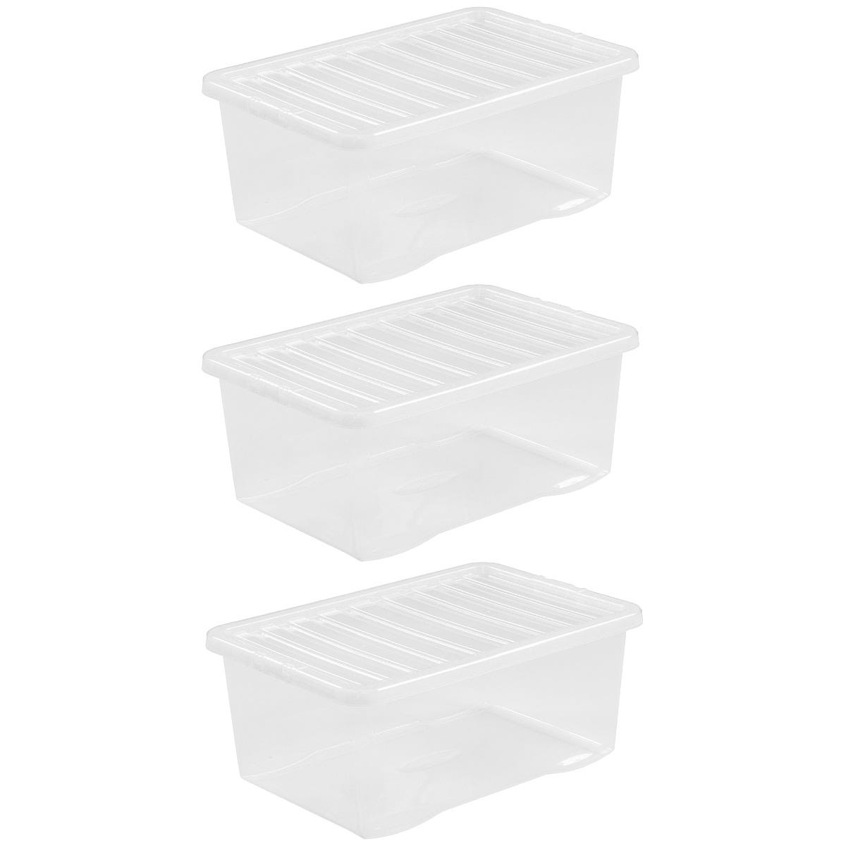 Wham Crystal Clear Storage Box with Lid 45L - Set of 3