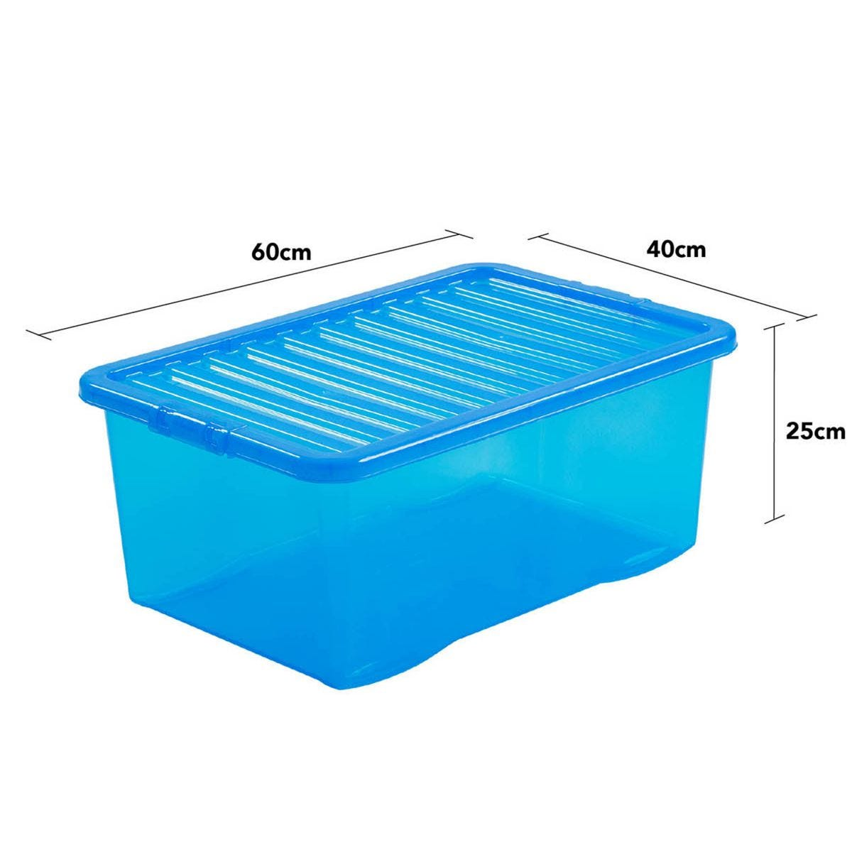 Wham Crystal Blue Storage Box with Lid 45L - Set of 3