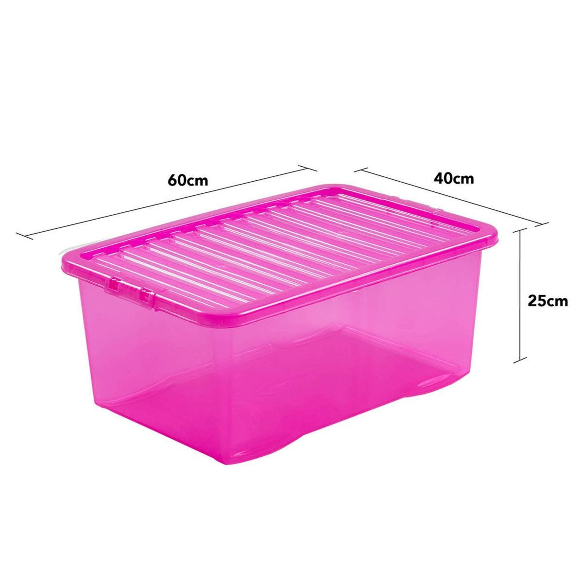 Wham Crystal Pink Storage Box with Lid 45L - Set of 3