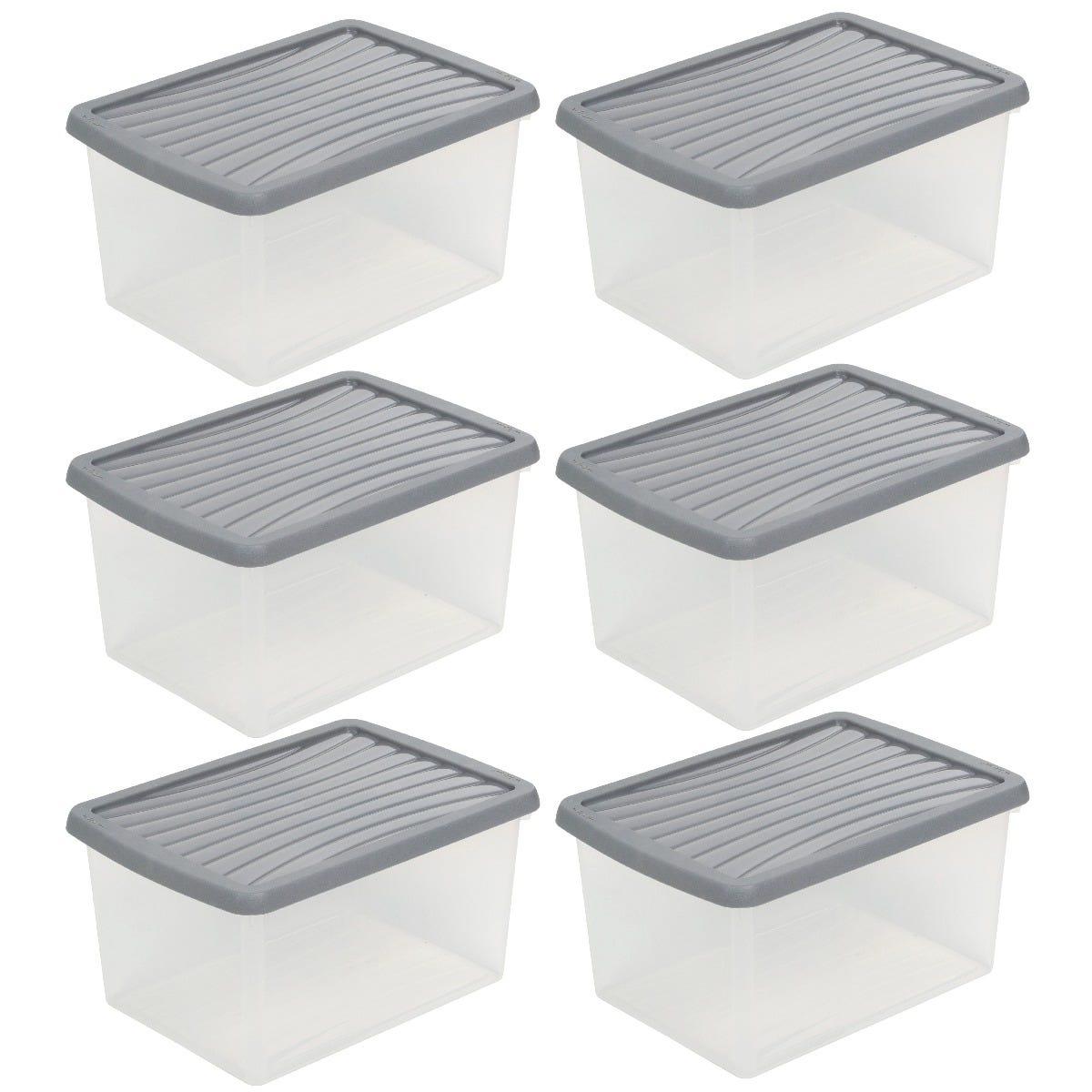 Wham Grey Storage Box & Lid 16L - Set of 6
