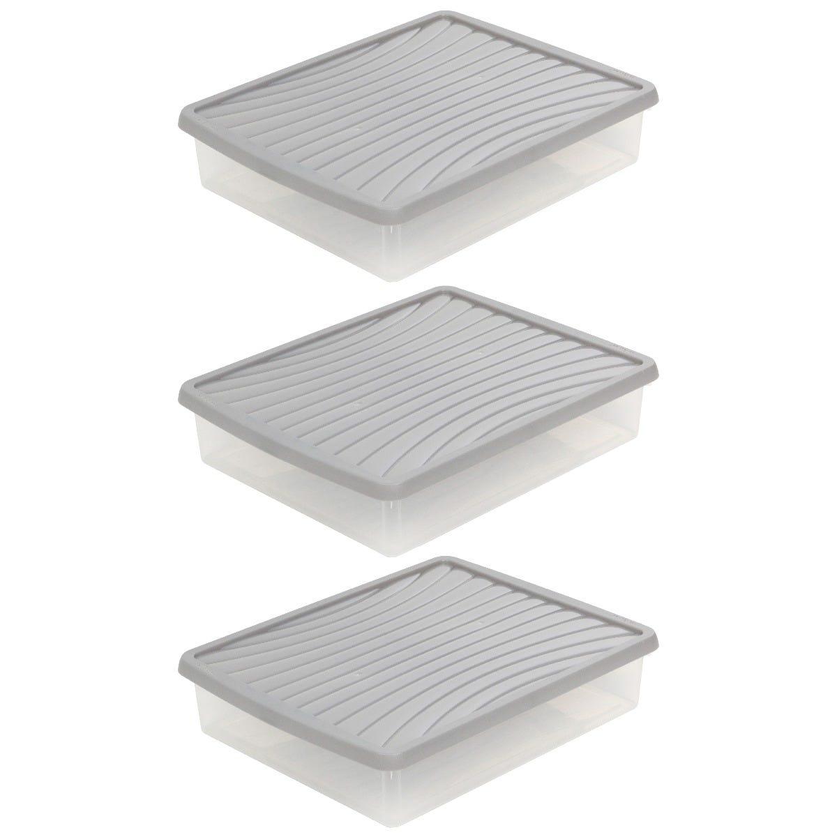Wham Grey Storage Box & Lid 14.75L - Set of 3