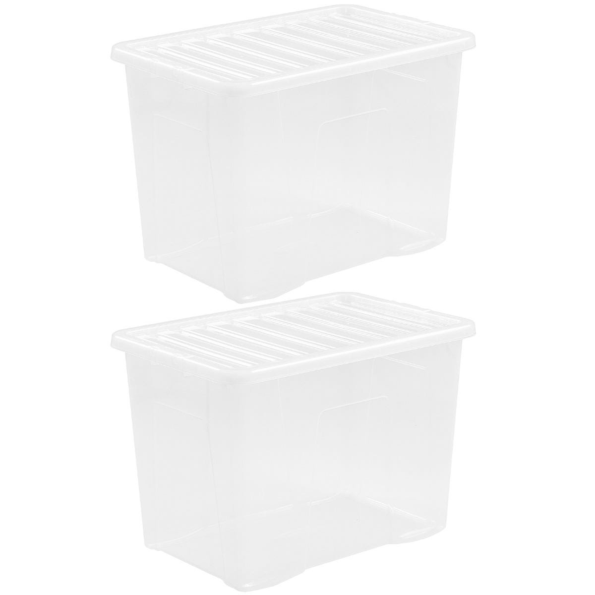 Wham Crystal Clear Storage Box with Lid 80L - Set of 2