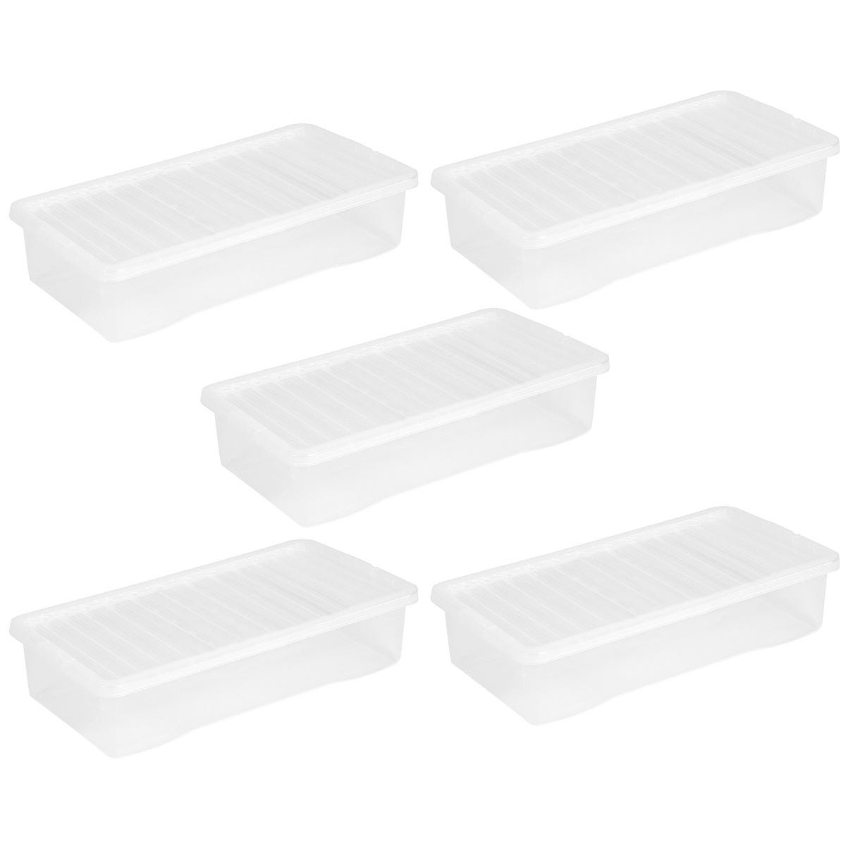 Wham Crystal Clear Under Bed Storage Box with Lid 42L - Set of 5