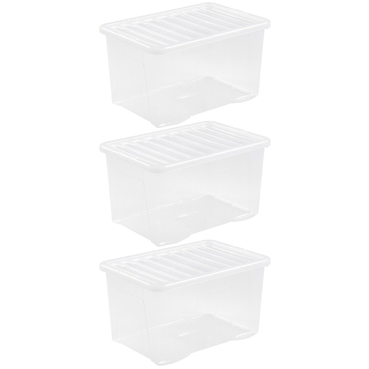 Wham Crystal Clear Storage Box with Lid 60L - Set of 3