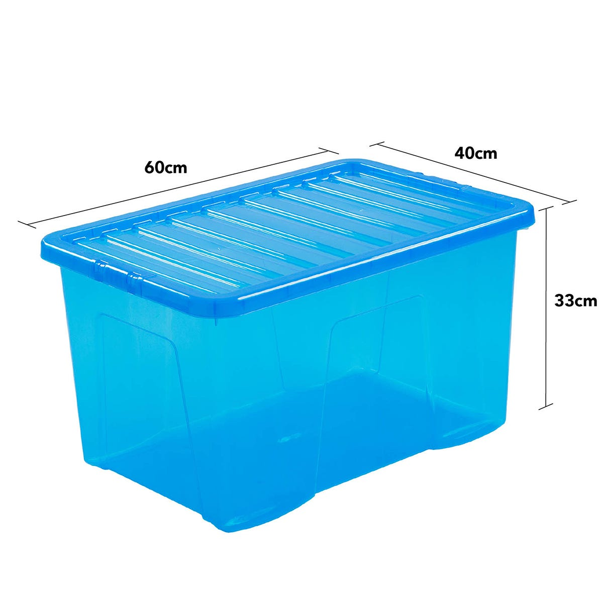 Wham Crystal Blue Storage Box with Lid 60L- Set of 3