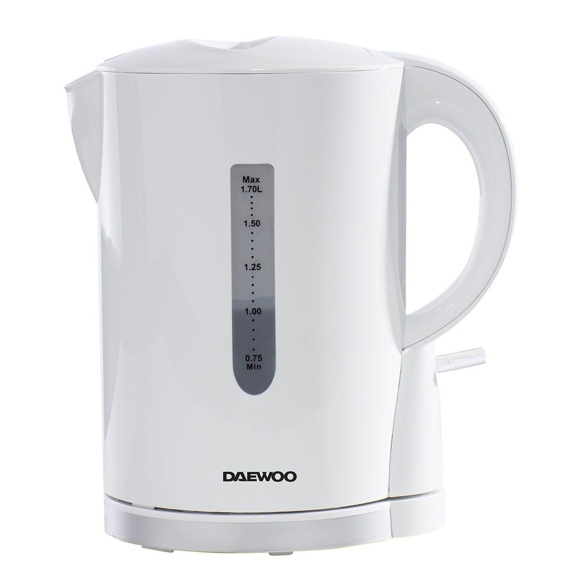 Daewoo SDA1650 2200W 1.7L Plastic Kettle - White with Chrome Band