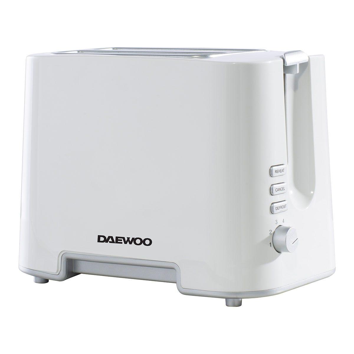 Daewoo SDA1651 870W 2-Slice Plastic Toaster - White with Chrome Band