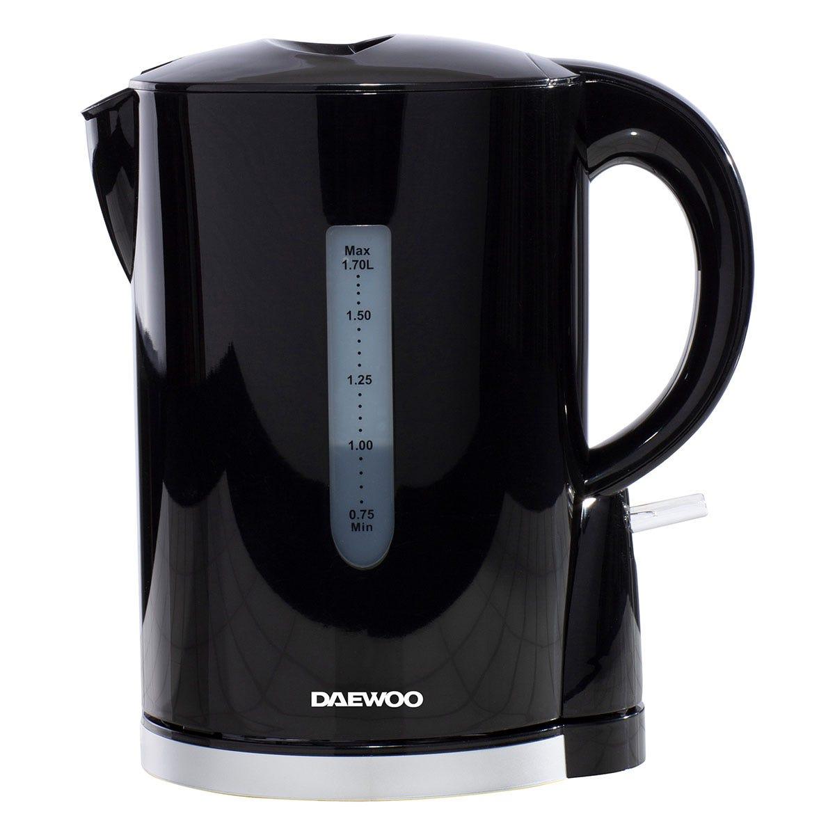 Daewoo SDA1682 1.7L 2200W Plastic Kettle - Black with Chrome Band