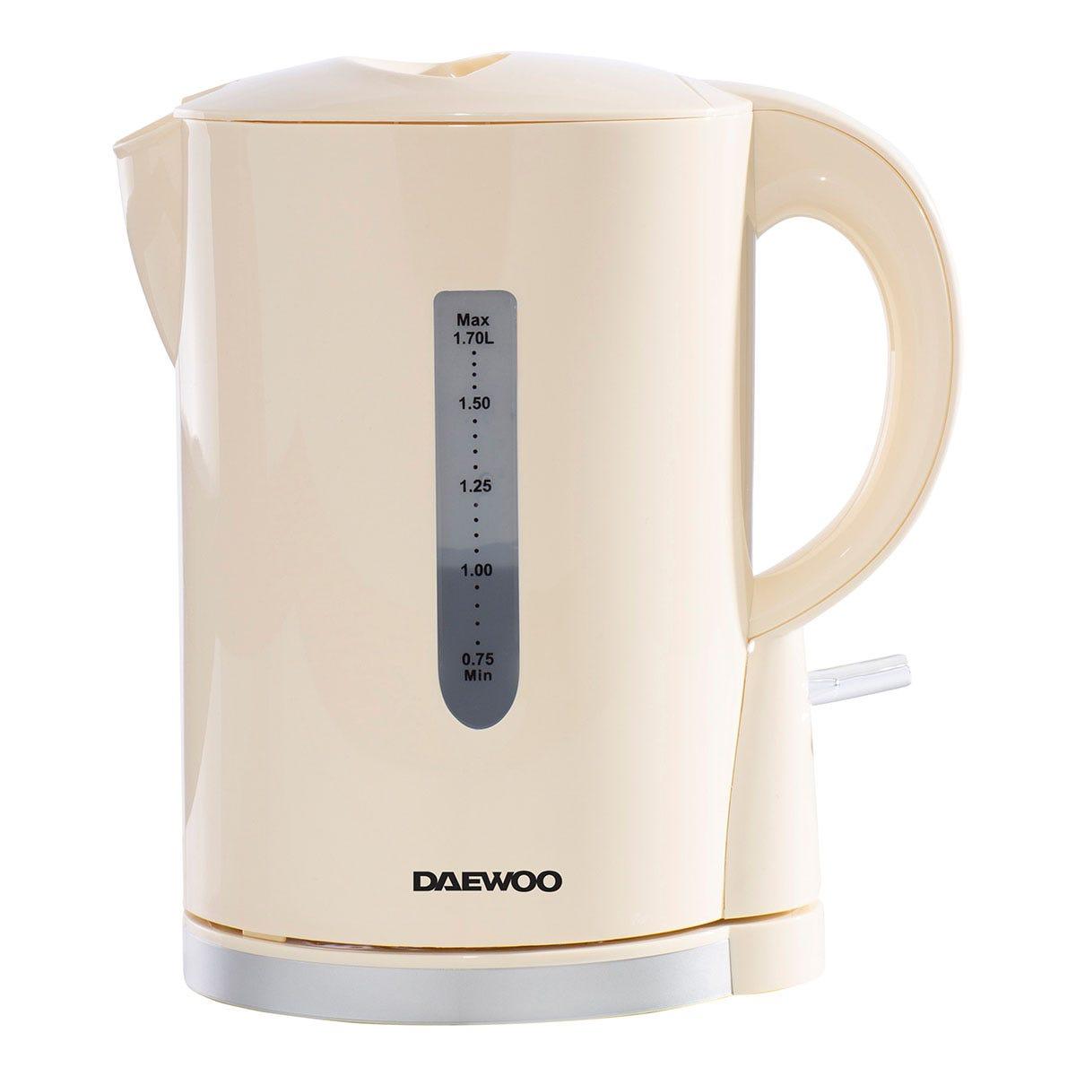 Daewoo SDA1683 2200W 1.7L Plastic Kettle - Cream with Chrome Band