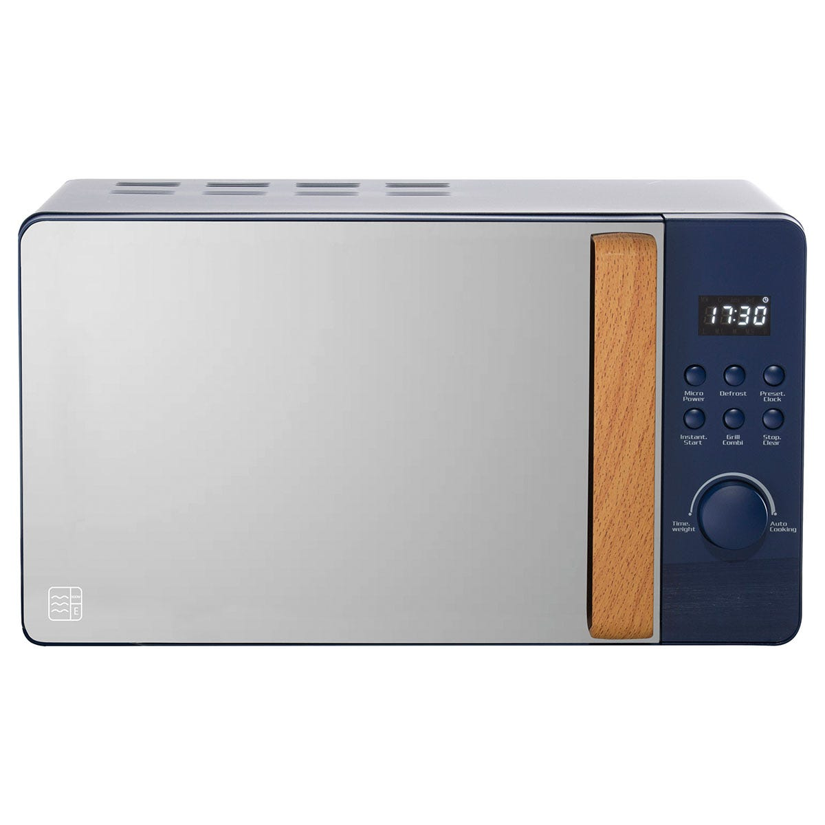 Daewoo SDA1707 Skandik 20L 800W Wooden-Handled Digital Microwave - Navy Blue
