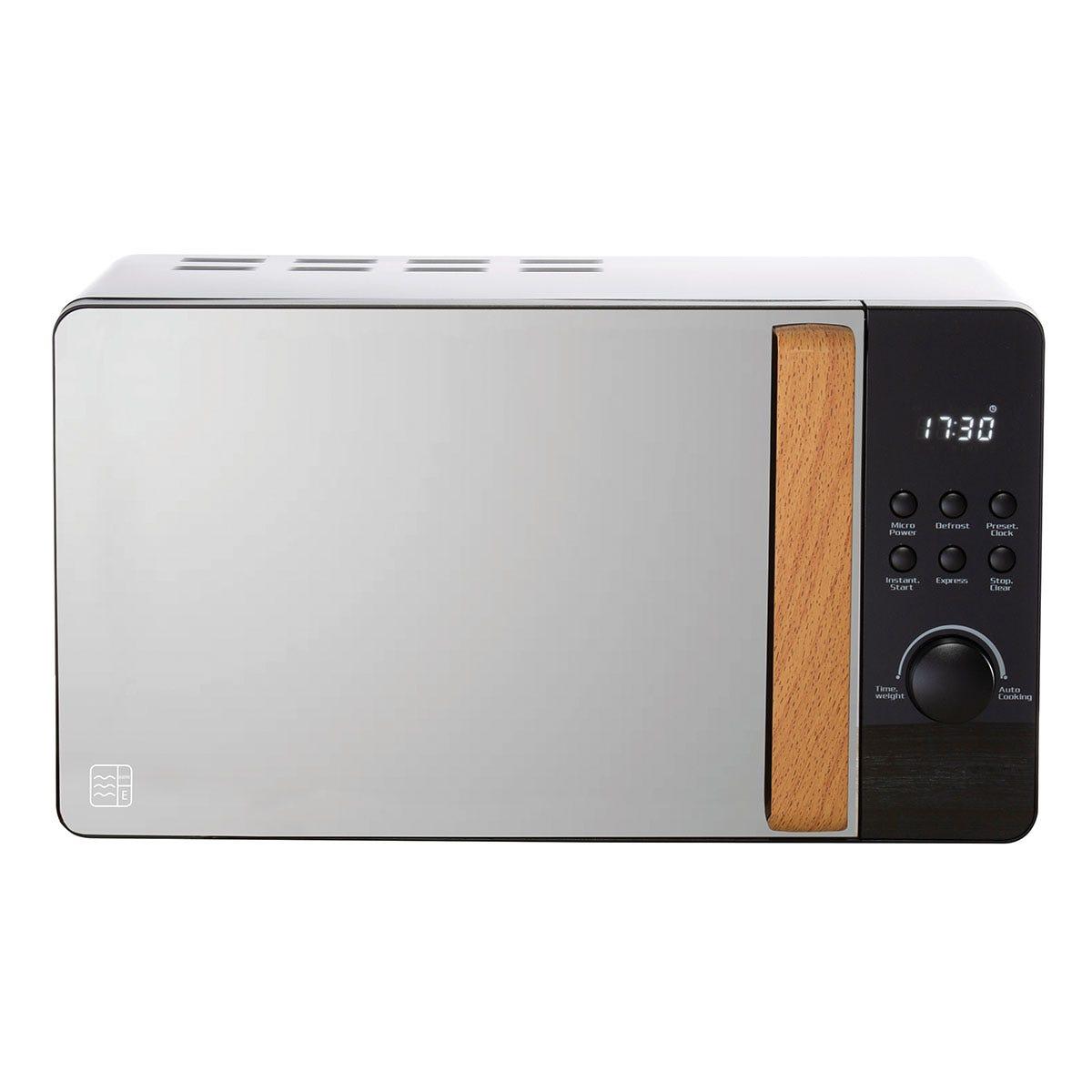 Daewoo SDA1698 Skandik 800W 20L Wooden Handle Digital Microwave - Black