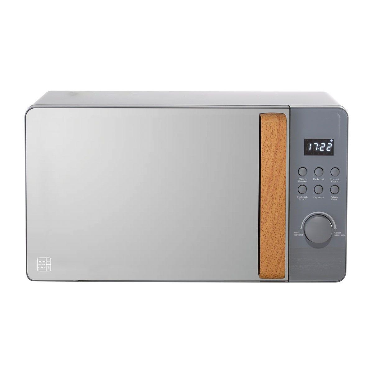 Daewoo SDA1704 Skandik 20L 800W Wooden-Handled Digital Microwave - Grey