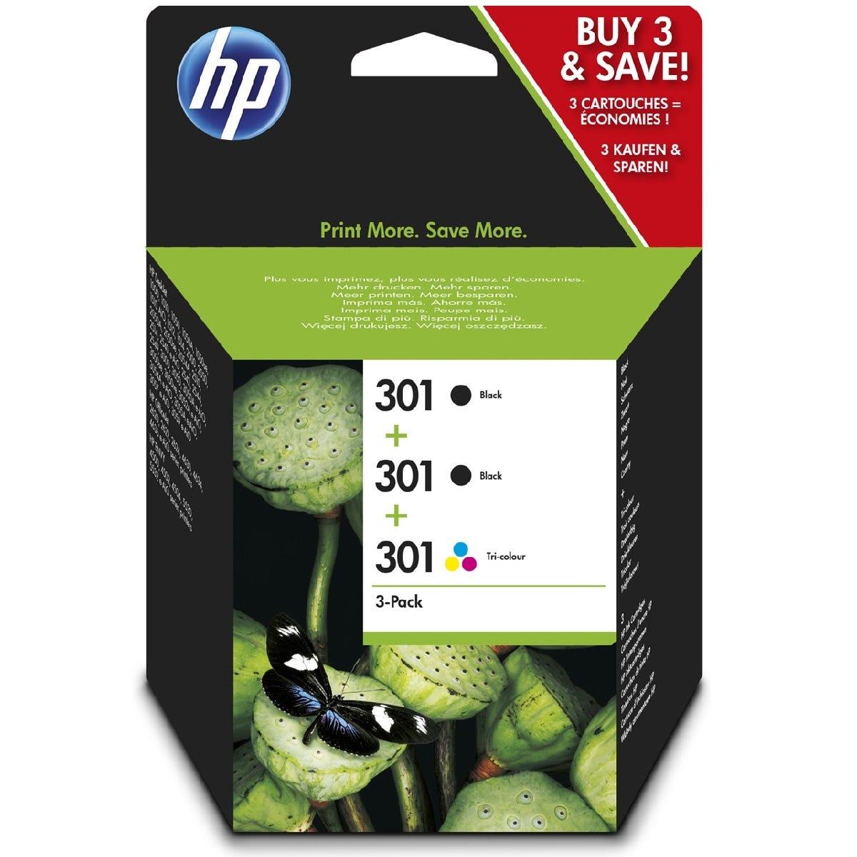 HP 301 Black(2)/Tri-colour(1) 3-pack Original Ink Cartridges