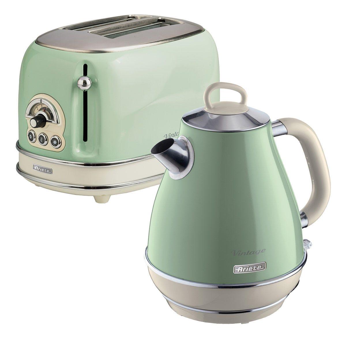 Ariete ARPK2 Vintage 2-Slice Toaster and 1.7L Fast Boil Jug Kettle - Green