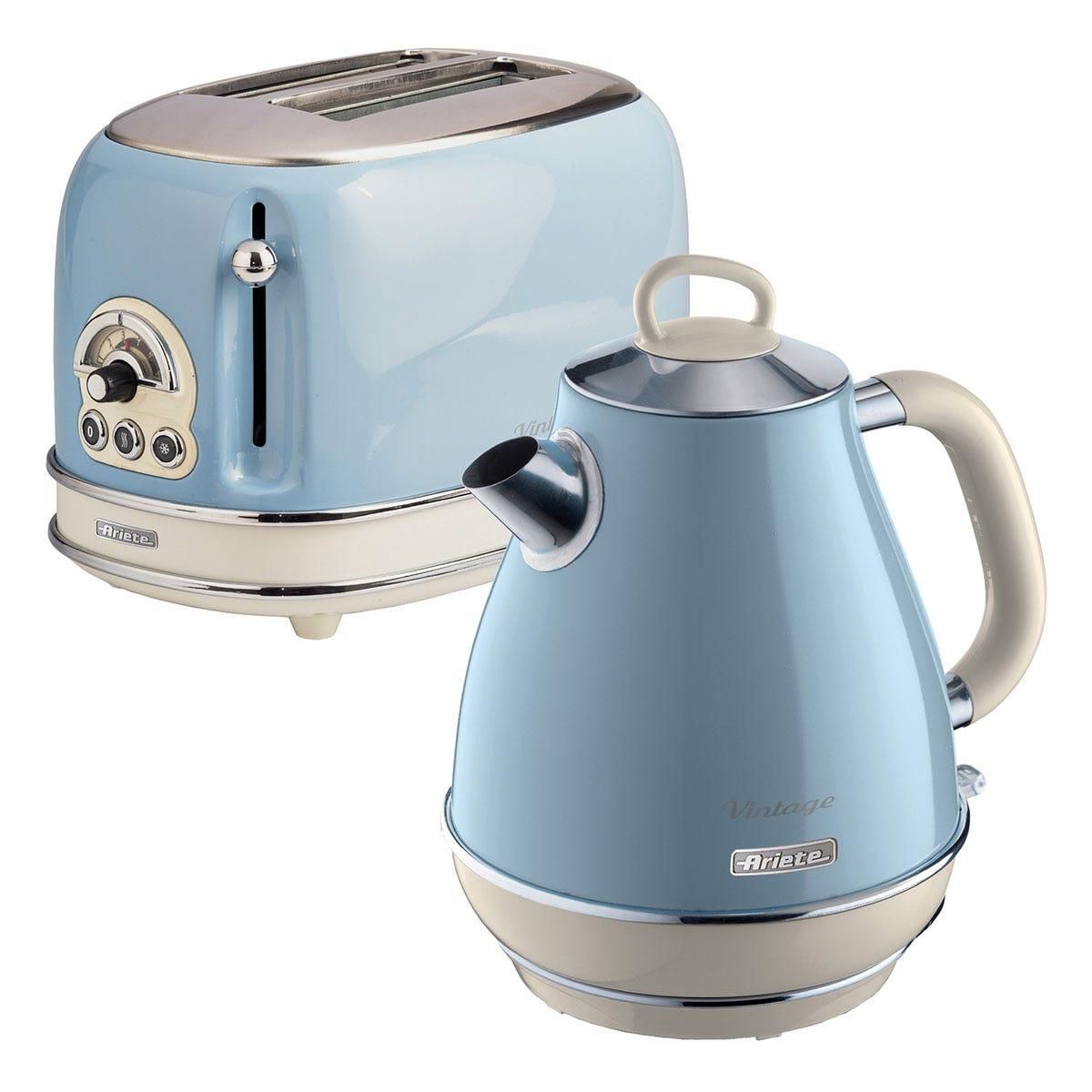 Ariete ARPK3 Vintage 2-Slice Toaster and 1.7L Jug Kettle - Blue