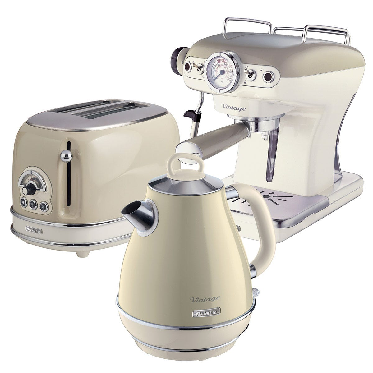 Ariete ARPK4 Vintage 2-Slice Toaster, 1.7L Fast Boil Jug Kettle, and Espresso Coffee Maker - Cream