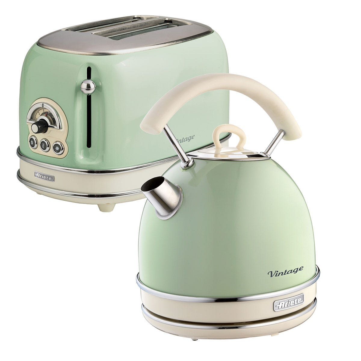 Ariete ARPK11 Vintage 2-Slice Toaster and 1.7L Dome Kettle - Green