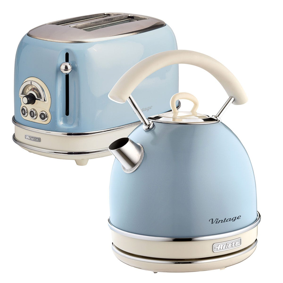 Ariete ARPK12 Vintage 2-Slice Toaster and 1.7L Dome Kettle - Blue