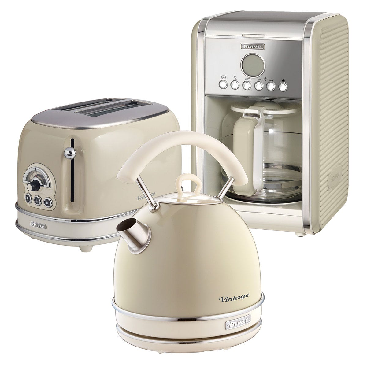 Ariete ARPK13 Vintage 2-Slice Toaster, 1.7L Dome Kettle, and 12-Cup Filter Coffee Maker - Cream