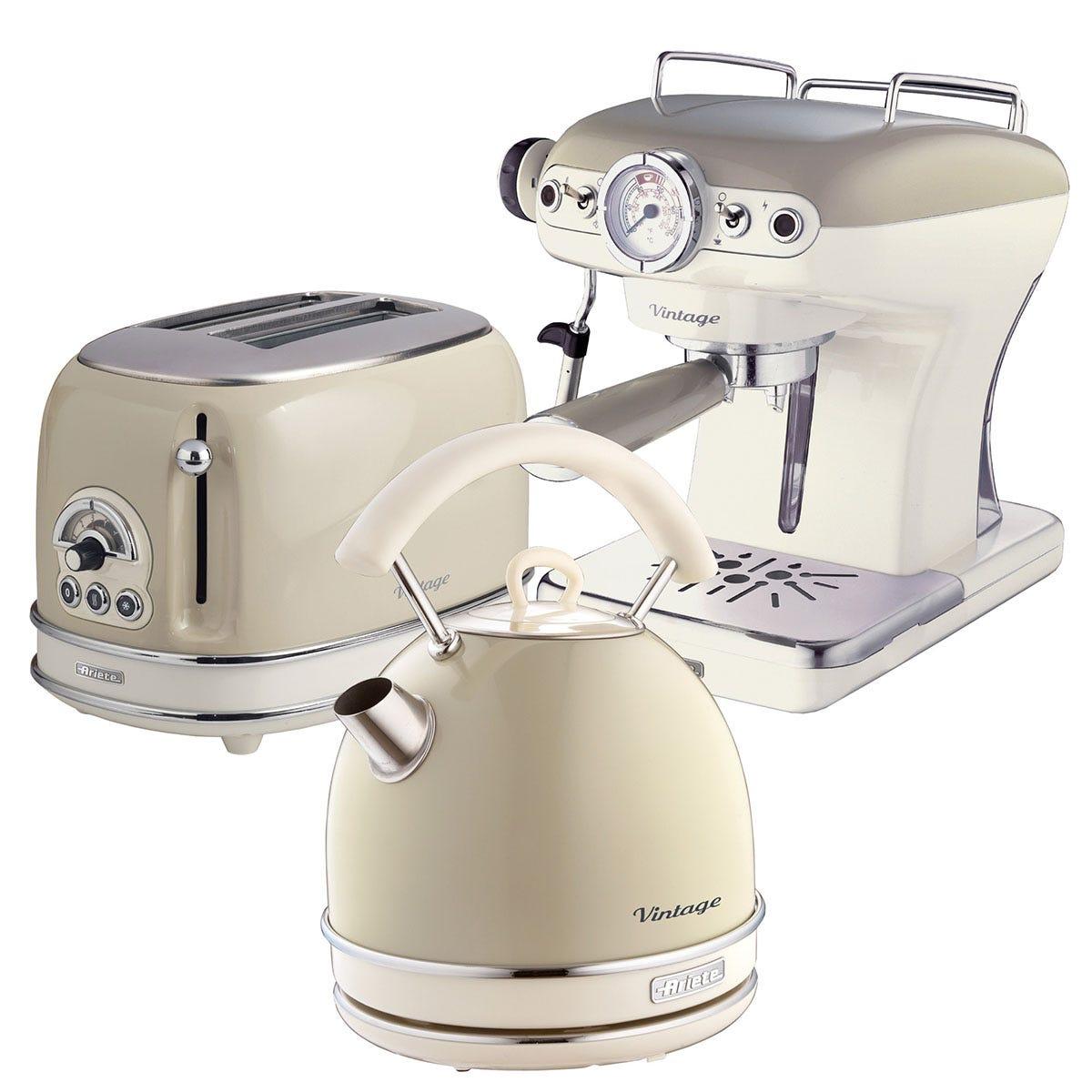 Ariete ARPK16 Vintage 2-Slice Toaster, 1.7L Dome Kettle, and Espresso Coffee Maker - Cream