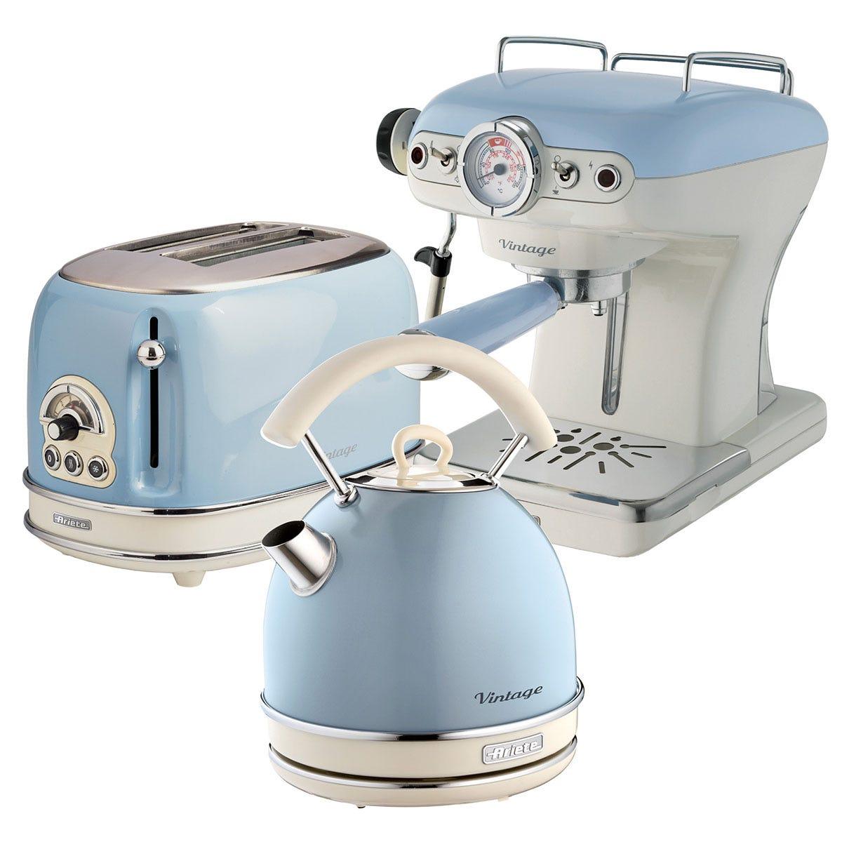 Ariete ARPK18 Vintage 2-Slice Toaster, 1.7L Dome Kettle, and Espresso Coffee Maker - Blue