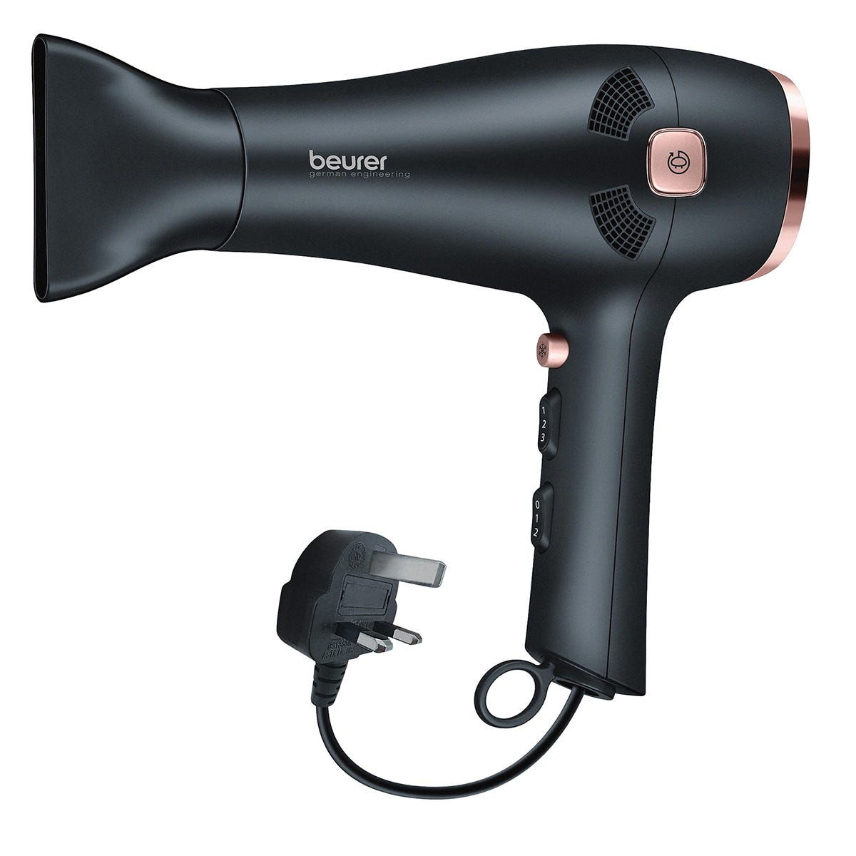 Beurer HC55 Style Pro 2000W Hair Dryer with Cable Rewind Function - Black/Rose Gold