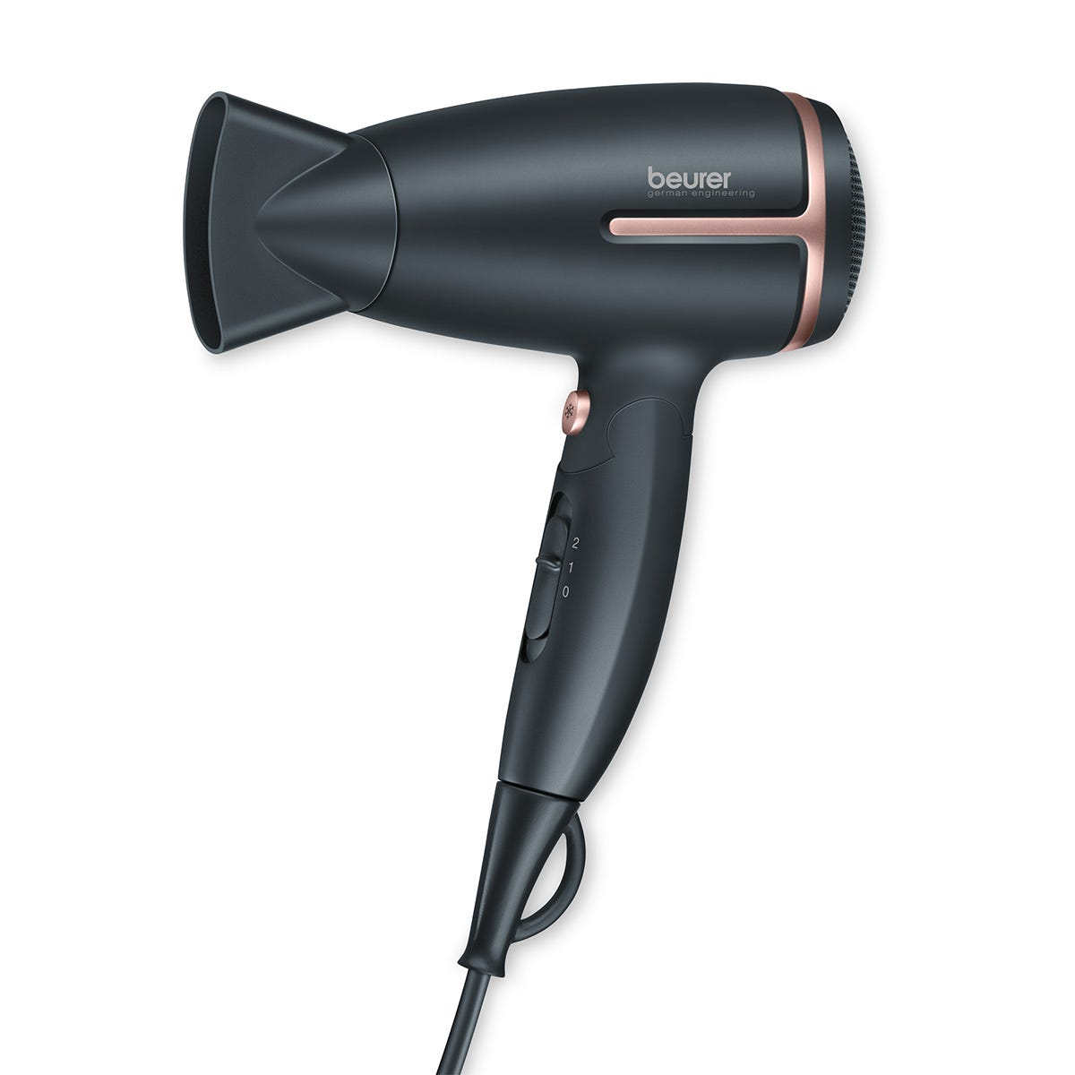 Beurer HC25 Premium Travel 1600W Hair Dryer with Ionic Function - Black/Rose Gold