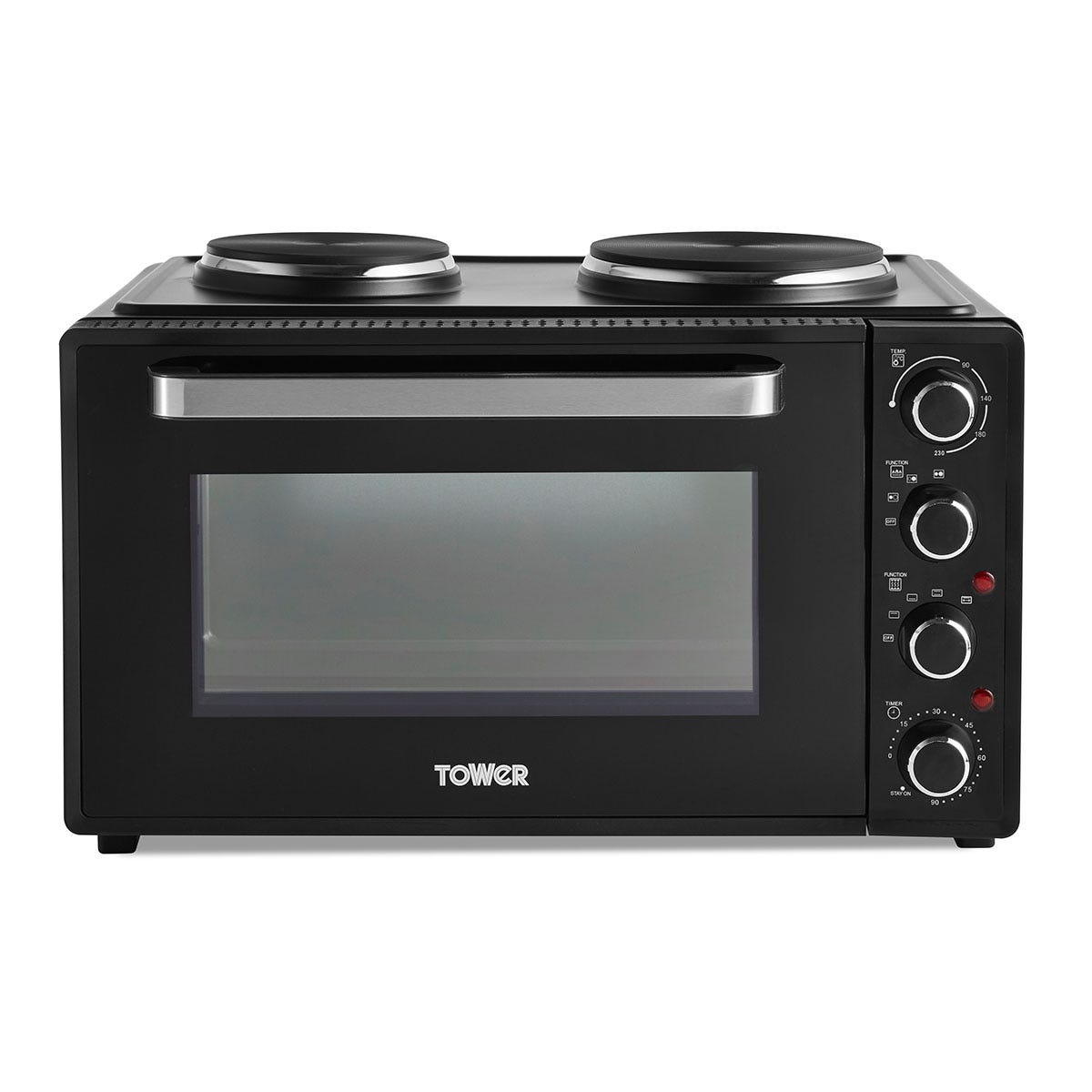 Tower DYT14045 42L Mini Oven with Hobs and Rotisserie Function - Black