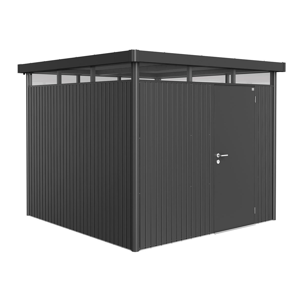 Biohort Highline Metal Shed H4 Standard door 9 x 9 - Dark Grey