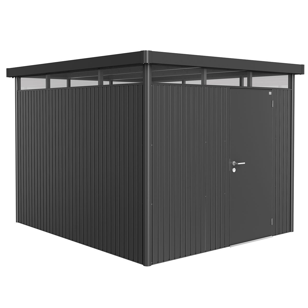 Biohort Highline Metal Shed H5 Standard door 9 x 10 - Dark Grey