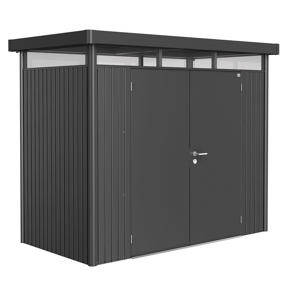 Biohort Highline Metal Shed H1 Double door 9 x 5 - Dark Grey