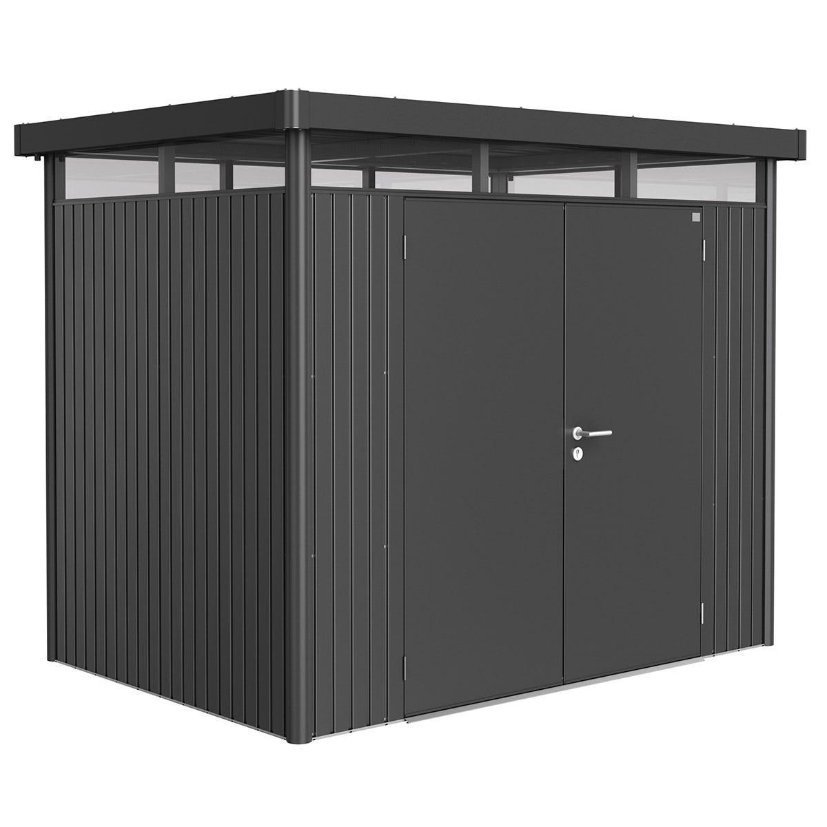 Biohort Highline Metal Shed H2 Double door 9 x 6 - Dark Grey