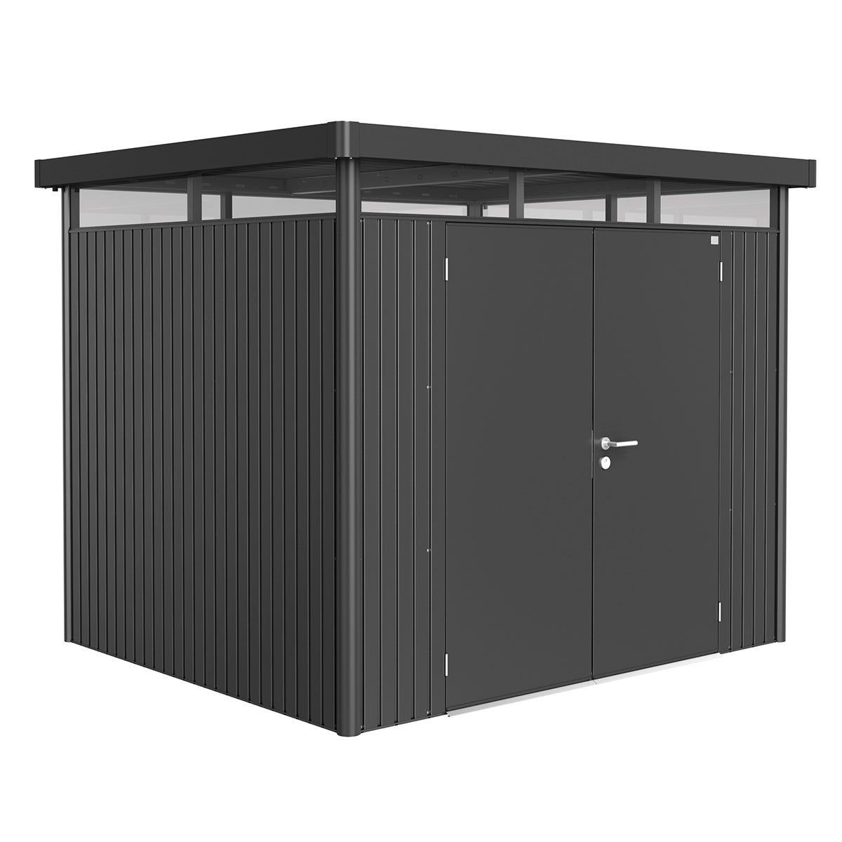 Biohort Highline Metal Shed H3 Double door 9 x 8 - Dark Grey