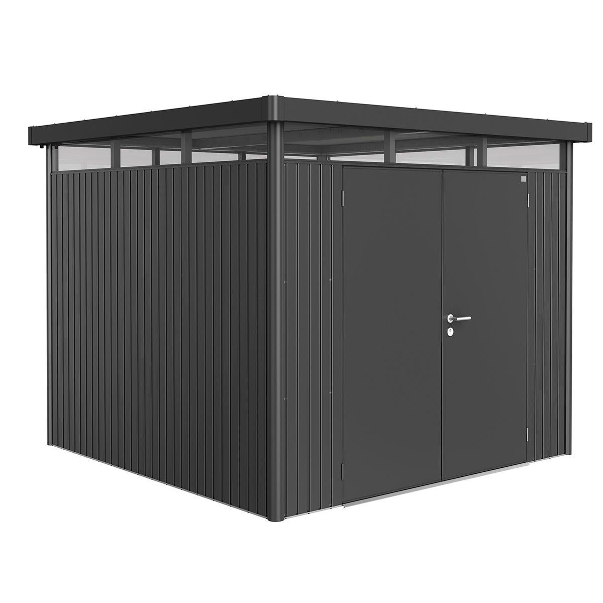 Biohort Highline Metal Shed H4 Double door 9 x 9 - Dark Grey