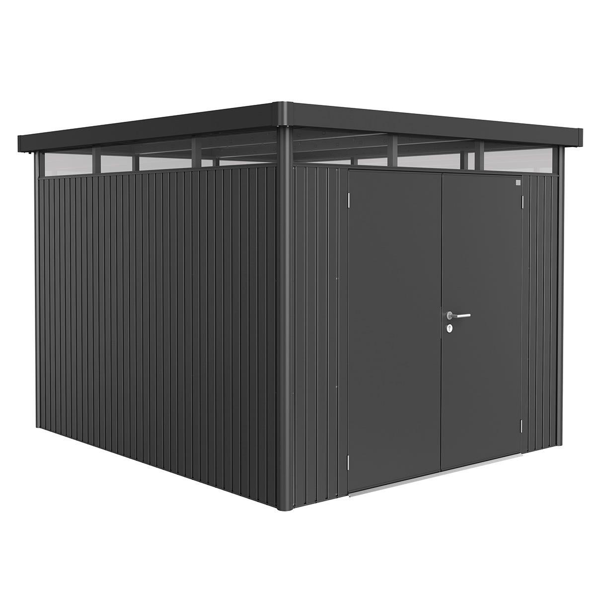 Biohort Highline Metal Shed H5 Double door 9 x 10 - Dark Grey