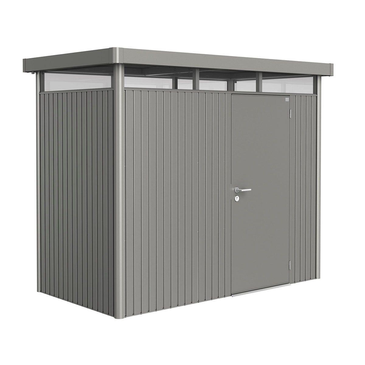 Biohort Highline Metal Shed H1 Standard door 9 x 5 - Quartz Grey