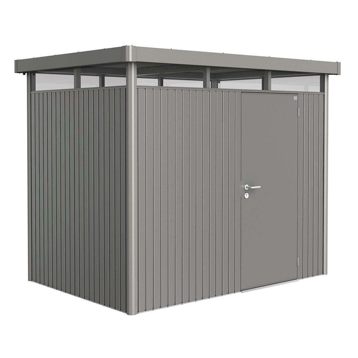 Biohort Highline Metal Shed H2 Standard door 9 x 6 - Quartz Grey