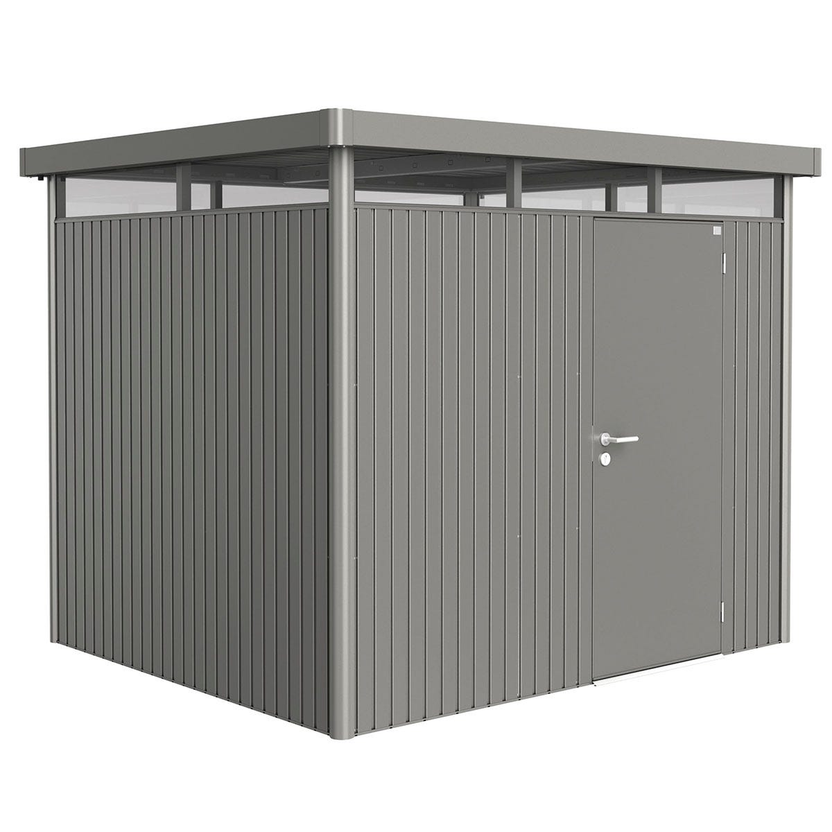 Biohort Highline Metal Shed H3 Standard door 9 x 8 - Quartz Grey