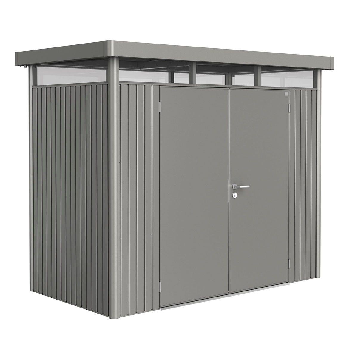 Biohort Highline Metal Shed H1 Double door 9 x 5 - Quartz Grey