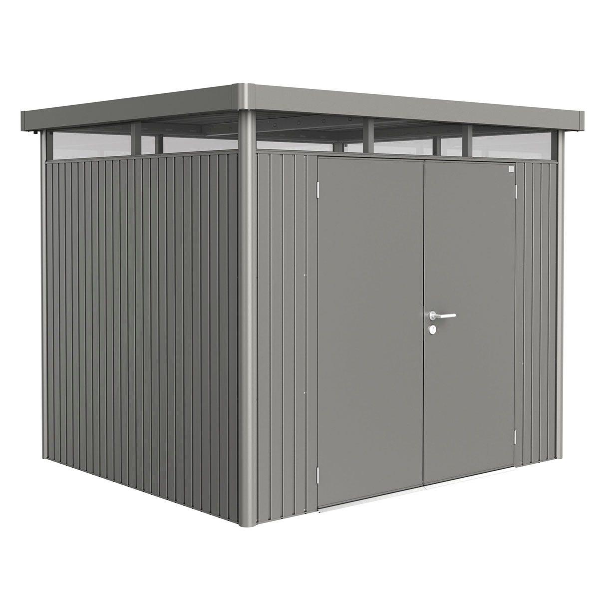 Biohort Highline Metal Shed H3 Double door 9 x 8 - Quartz Grey