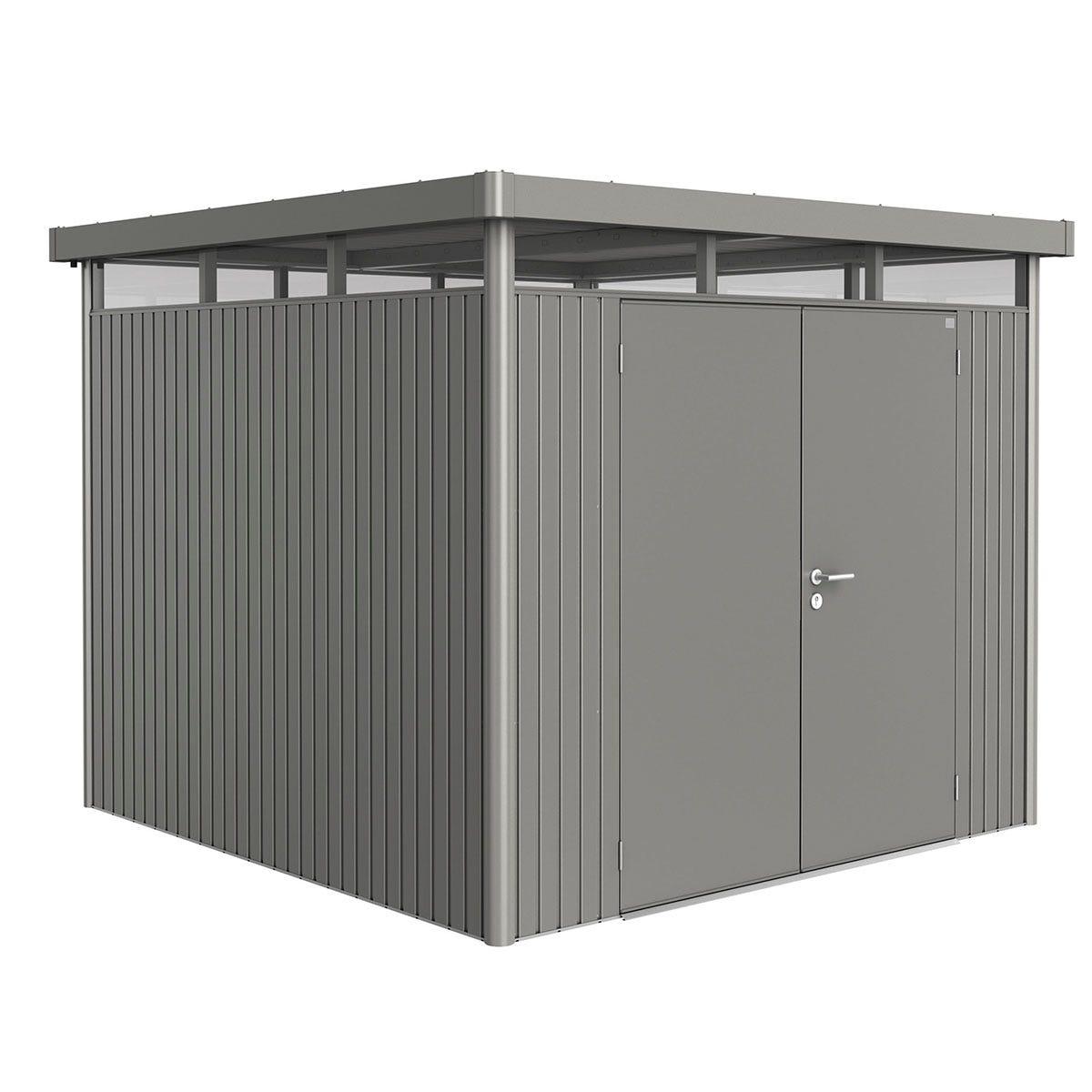 Biohort Highline Metal Shed H4 Double door 9 x 9 - Quartz Grey