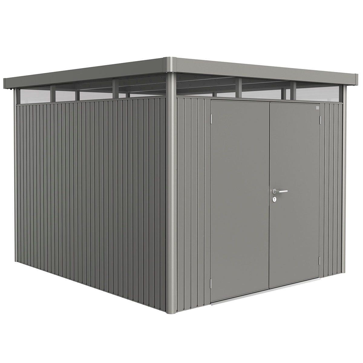 Biohort Highline Metal Shed H5 Double door 9 x 10 - Quartz Grey