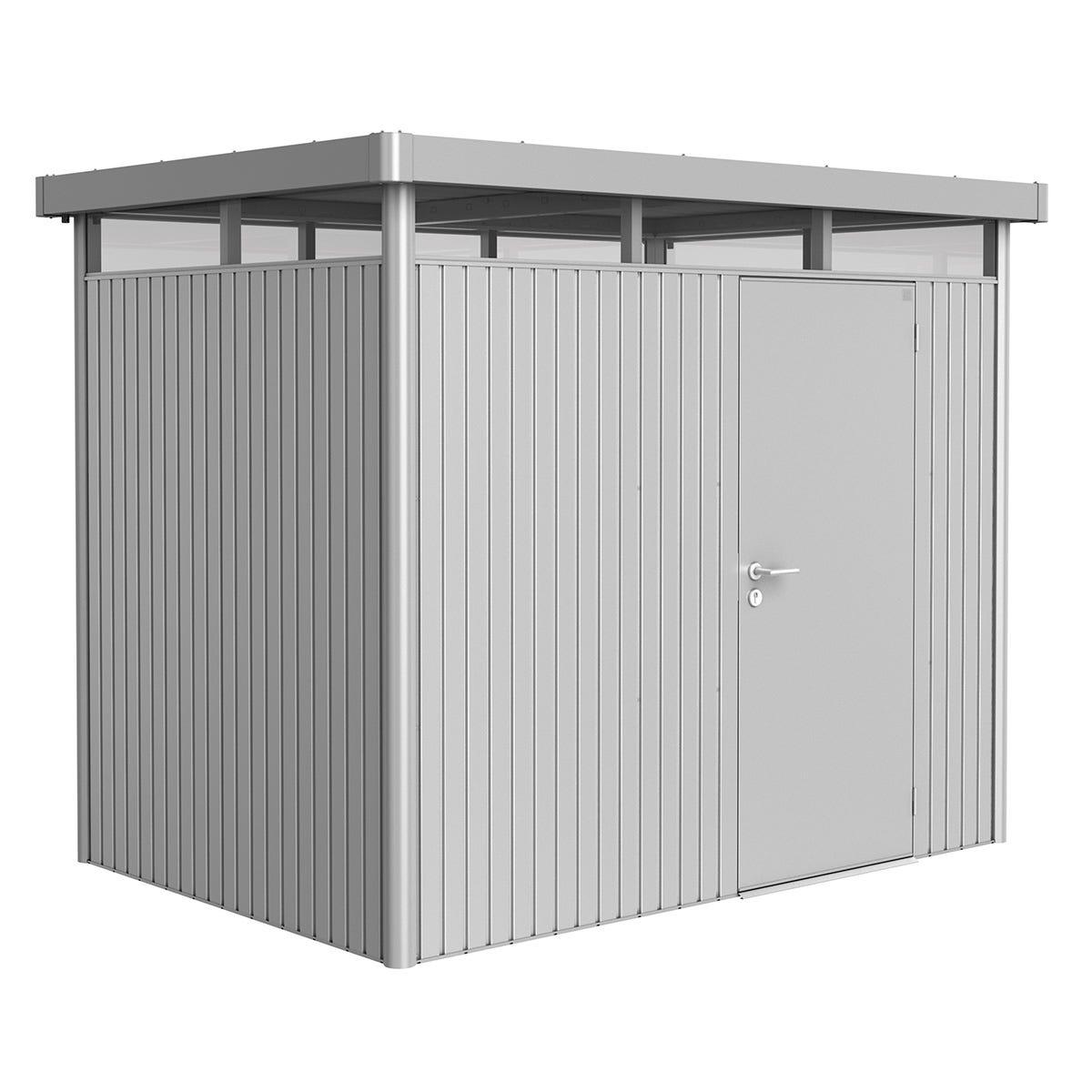 Biohort Highline Metal Shed H2 Standard door 9 x 6 - Metallic Silver